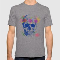 Halloween Skull Mens Fitted Tee Tri-Grey SMALL