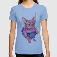 Eule the magic bulldog Womens Fitted Tee Athletic Blue SMALL