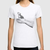 Wolf Cub // Graphite Womens Fitted Tee Ash Grey SMALL