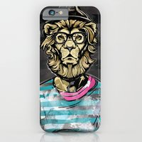 iPhone & iPod Case featuring Hipster Lion on Black by Brewer Arts