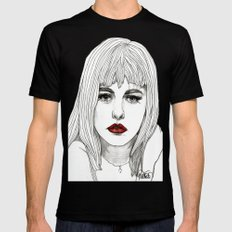 Patsy with Red Lips Mens Fitted Tee Black SMALL