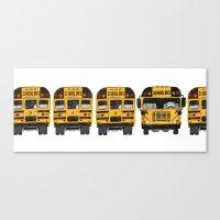 School Bus Line-up Canvas Print