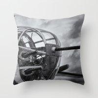 B-25 Nose Guns Throw Pillow