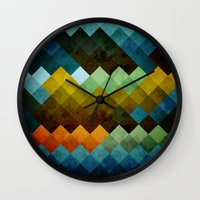 Abstract Cubes BYG Wall Clock