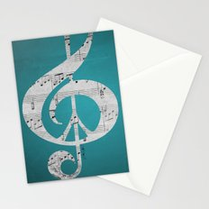 Music & Peace Aqua Sheets Stationery Cards