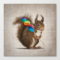A Funny Squirrel With A … Canvas Print
