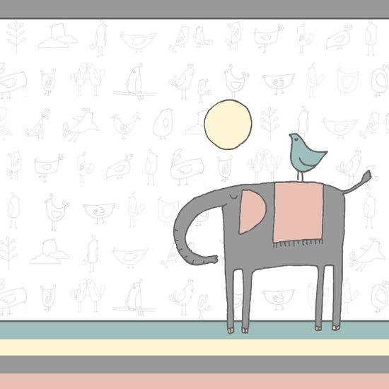 Elephant and birds Canvas Print