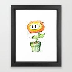 Fireflower Watercolor Painting Framed Art Print