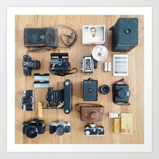 Cameras Organized Neatly Art Print