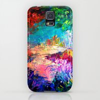 Galaxy S5 Cases featuring WELCOME TO UTOPIA Bold Rainbow Multicolor Abstract Painting Forest Nature Whimsical Fantasy Fine Art by EbiEmporium