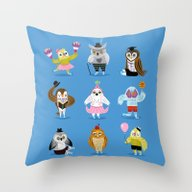 Throw Pillow featuring Owls Wearing Outfits by Oliver Lake
