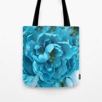 Aqua Blue Floral Abstrac… Tote Bag