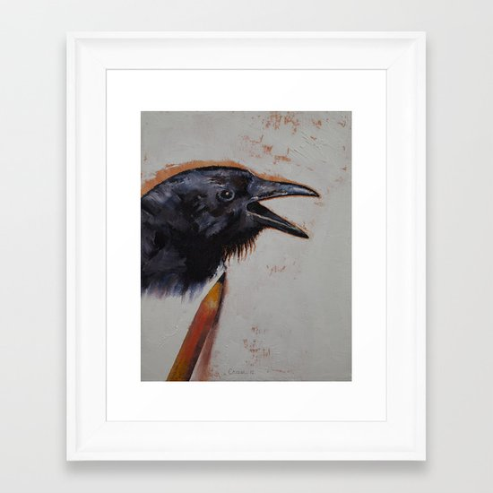 Raven Sketch Framed Art Print