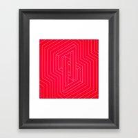 Modern minimal Line Art / Geometric Optical Illusion - Red Version  Framed Art Print