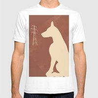 Doberman Dog Mens Fitted Tee White SMALL