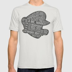 Super Mario Typography Mens Fitted Tee Silver SMALL