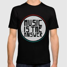 Music Black SMALL Mens Fitted Tee