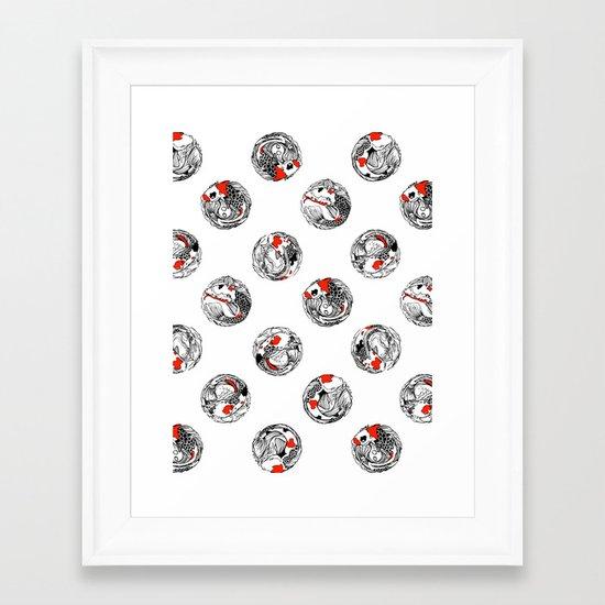 Polka koi Framed Art Print