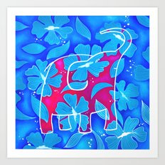 Elephant and flowers Art Print