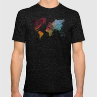 World Map Mens Fitted Tee Tri-Black SMALL