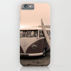Pink VW splitscreen camper van on the beach at sunset iPhone 6s Slim Case