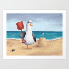 Seagull's Sandcastle Art Print