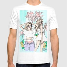Summer vibes SMALL Mens Fitted Tee White