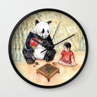 Playing Go With Panda Wall Clock
