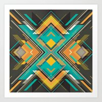 Teal And Orange Geometri… Art Print