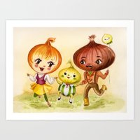 Kitschy Cute Onion Family Art Print