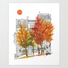 Autumn Cityscape Art Print