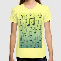 Music notes Womens Fitted Tee Lemon SMALL
