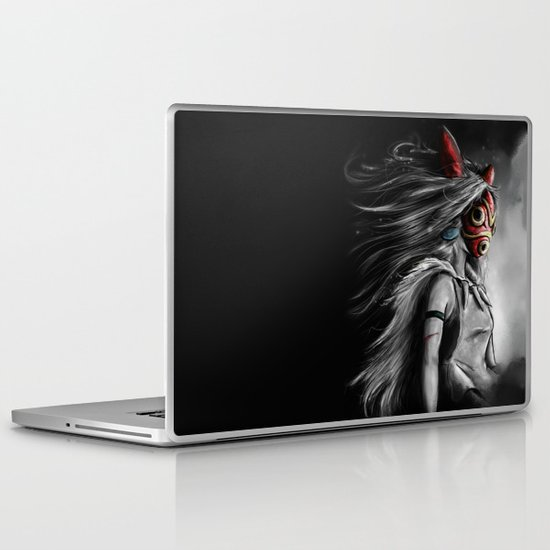 Miyazaki's Mononoke Hime Digital Painting the Wolf Princess Warrior Color Variation Laptop & iPad Skin