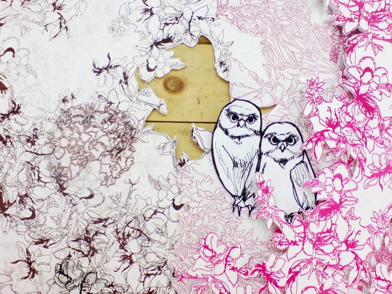 Owls and Flowers  Art Print