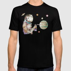 space graffiti SMALL Mens Fitted Tee Black