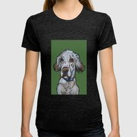 Ollie the English Setter Womens Fitted Tee Tri-Black SMALL