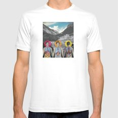 MOUNTAIN ANATOMY White Mens Fitted Tee SMALL