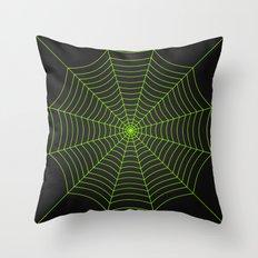 Neon green spider web Throw Pillow