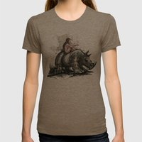 The Girl And The Rhino Womens Fitted Tee Tri-Coffee SMALL