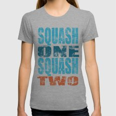 SQUASH ONE SQUASH TWO Womens Fitted Tee Athletic Grey SMALL