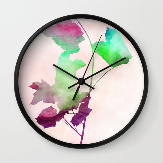 Maple_Watercolor2 by Jacqueline and Garima Wall Clock