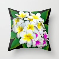 Plumeria Flowers Bouquet Throw Pillow