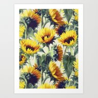 Art Print featuring Sunflowers Forever by Micklyn
