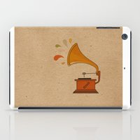 Vintage grammophone with music splashes on brown  iPad Case