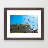 Doves And Wire#3 Framed Art Print