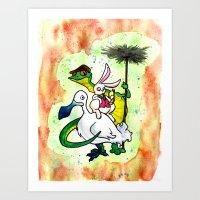 The Dodo, the White Rabbit, and Bill the Lizard Art Print