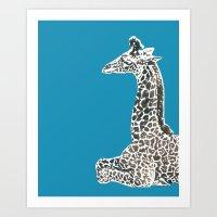 Giraffe in Blue Art Print