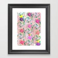 Painterly Rosey Floral Framed Art Print
