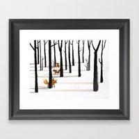 Trois Renards Dans La Ne… Framed Art Print