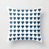 64 Hearts Navy Throw Pillow
